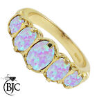 BJC® 9ct Yellow Gold Victorian / Gypsy Style Graduating Opal 5 Stone Ring