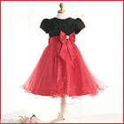 A Red Black Christmas Party Flower Girls Dresses Outfit SIZE 2-3-4-5-6-7-8-9-10T