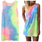 Women's Summer Sleeveless Tie-dye Round Neck Rainbow Top Mini Tank Dress