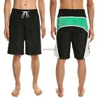 Men Elastic Waist Drawstring Letter Print Beach Board Shorts Casual Swim Shorts