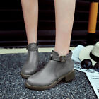 Casual Ankle boots Womens Comfy Block Low heels Round toe Platform Buckle Shoes