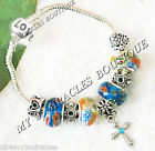 CROSS Charm Bracelet Blue Orange Girls 1st Communion Teen Confirmation Religious