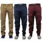 Mens Jeans Chino Style Cargo Pants Denim Cuffed Bottoms Twisted Leg Combat New