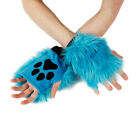 PAWSTAR Pawlets Furry Paw Cosplay Fingerless Gloves Turquoise Teal blue 3170