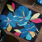MODERN 14mm THICK - SMALL LARGE BLACK TEAL FLOWER HIGH QUALITY ACRYLIC RUG MAT