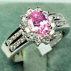 Size 5-12 Oval Pink Sapphire Women's Wedding Ring 10KT White Gold Filled Jewelry
