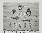 10pc Silver Shark Charm Set Lot Collection / Choose Rings, Clasps, Bails