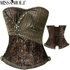 Sexy Women's Gothic Corset Women Zip Pinstriped Bustier Lace Up Boned Steampunk