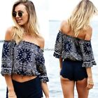 Ladies Vintage Sexy Off Shoulder Crop Top Summer Half Sleeve T Shirt Tops Blouse