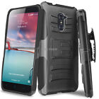 For ZTE Zmax Pro Z981 Shockproof Rugged Hybrid Hard Case Belt Clip Holster Stand