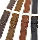 Padded Calf Leather Watch Band Reinforced Stitching 18mm - 24mm 4 Colours C004