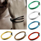 Fashion Unisex Men's Genuine Braided Leather Steel Magnetic Clasp Bracelet