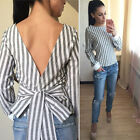 Women Bandage Long Sleeve Striped Blouse sexy Backless Casual Shirt Tops blusas