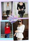 Women Fashion Low Crew-Neck Long Sleeve Peplum Top Blouse Cute Tee T-Shirt DT