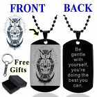 Men's 316L Stainless Steel Black Dog Tag Silver Owl Pendant Necklace Bead Chain