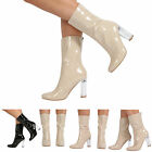 WOMENS LADIES HIGH HEEL PERSPEX ANKLE BOOTS ZIP UP FASHION CASUAL BOOTS SHOES