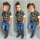 2PCS Baby Boys Long Sleeve Camouflage Shirt Tops +Jeans Set  Clothes Outfits
