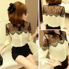 Sexy Women's Chiffon Lapel Long Sleeve Lace Stitch T-Shirt Blouse Tops New