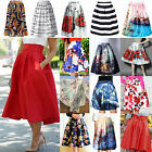 Retro Women Sexy A Line Flared Skater Skirt High Waist Party Midi Dress Shirt CH