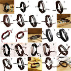 Vintage Multilayer Leather Cross Bracelet Cuff Charm Bangle For Men Women tb