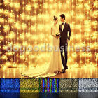 2/3/6M 200/300/600 LED Window Curtain String Fairy Lights Wedding Garden Home D