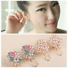 1 pair Women Lady Korea Style Elegant Flower Pearl Rhinestone Ear Stud Earrings