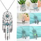 Retro Silver Feather Kallaite Dream Catcher Long Chain Pendant Necklace Jewelry
