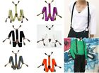 Unisex Suspenders Adjustable Elastic Braces Leather Button Hole Solid Color BD7H