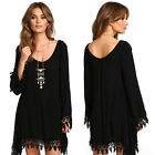 New Sexy Women Lady Girl Long Sleeve Black Cocktail Party Tassel Mini Dress