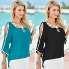 Sexy Womens Casual Blouse Summer Off Shoulder Loose Tops Tee Long Sleeve Shirts
