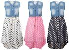 Girls Kids Sleeveless Summer Party Denim Lace Gold Chain Chiffon Polka Dot Dress
