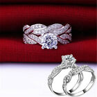 Fashion Women Silver Plated Crystal Rhinestone Wedding Ring Jewelry Hot Size 6-9