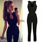 Sexy Women's Backless Sleeveless Hollow Out Bodycon Jumpsuit Romper Pants Black