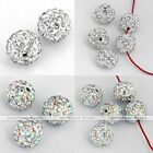 5x 10/12mm CZ Czech Crystal Fimo Disco Ball Pave Charm Bead Fit Hip Hop Bracelet