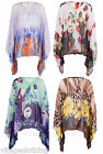Womens Front Zip Floral Butterfly Leapord Print Kimono Top Blouse Shirt One Size