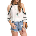 BOHO Womens Sexy Summer Off Shoulder Soild Blouse Casual Loose Tops T-Shirt NEW