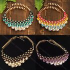 Boho Women's Bubble Bib Choker Party Statement Colorful Weave Ribbon Necklace