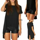 Short Sleeve Women Casual Tee Long Tops T-shirt Asymmetric Hem Sexy Loose Blouse