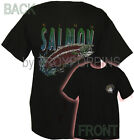 KING SALMON PACIFIC NORTHWEST FISHING GEAR BLACK GRAPHIC PRINTED T-SHIRT TEE