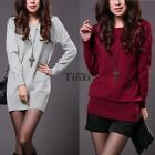 New Fashion Womens Jumper Knit Long Sleeve Shirt Pullover Sweater Dress 3 TXCL