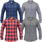 Mens Checked Tartan Shirts Crosshatch Collared Long Sleeved Casual Fashion New