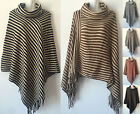 Women's Warm Poncho Batwing Striped Knit Top Cape Cardigan Sweater Coat Outwear
