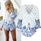 Sexy Long Sleeve Playsuit Rompers Jumpsuits Trousers Blue&White Womens Hot Lady