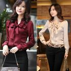Fashion Women's Bowtie Long Sleeve Shirts Tops Blouse OL Bowknot T-Shirt TXCL