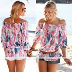 Fashion Women Summer Blouse Off Shoulder Loose Casual T Shirt Tops Half Sleeve