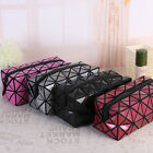 Diamond Lattice Leather Cosmetic Handbag Wrist Purse Organizor Makeup Pourch Bag