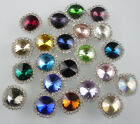 round 10mm glass crystal around clear rhinestones Faceted Jewels sew silver back