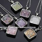 Natural Gemstone Crystal Quartz Wish Box Square Beads Chip Pendant Necklace Gift