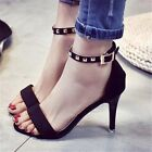 Ankle Strappy Open Toe High Heel Sandals Rivet Stud Stiletto Heels Shoes Womens