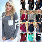 Fashion Womens Long Sleeve Shirt Casual Blouse Loose Cotton Jumper Tops T Shirt